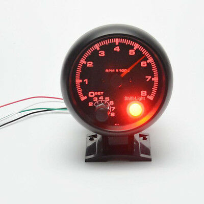 1x 3.75'' Car Tacho tachometer Counter Gauge Tachometer Red LED RPM Light Black