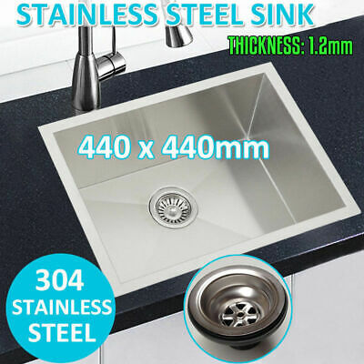 440x440mm Handmade Stainless Steel Undermount / Topmount Kitchen Laundry Sink