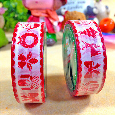 Xmas Red 4 Patterns Tape for Christmas Decor Adhesive Scrapbooking Sticker 10M