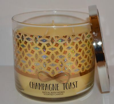 New Bath & Body Works Champagne Toast Scented Candle 3 Wick 14.5 Oz Large Yellow