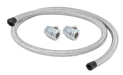 BRAIDED FUEL HOSE LINE 3/8 (9.5mm) 3FT LENGTH WITH CHROME CLAMPS