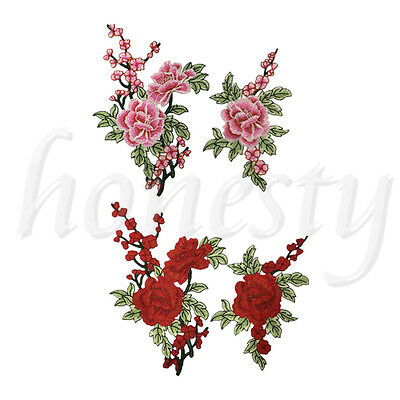 2 Plum Flower Floral Collar Sew Patch Cute Applique Badge Embroidered Bust Dress
