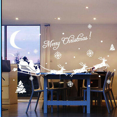 New Christmas Glass Wall Window Stickers Santa Christmas Decoration Party Gift