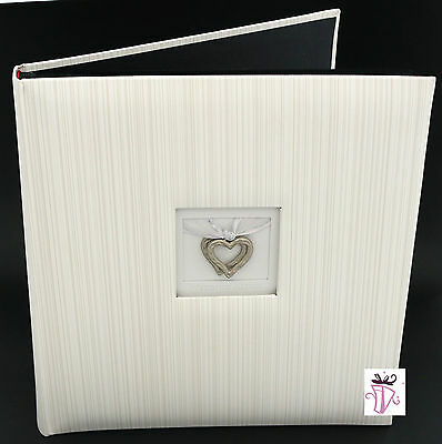 Engagement,Wedding gift Archival Quality Silver Hearts Dry Mount Photo Album
