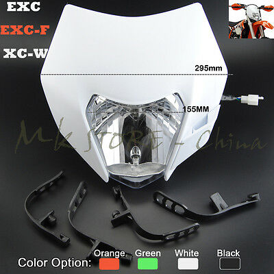 Motorcycle Dirt Bike Motocross Supermoto Universal Headlight Headlamp KTM EXC