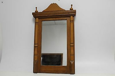 Antique Primitive Old Hand Carved Wooden Mirror
