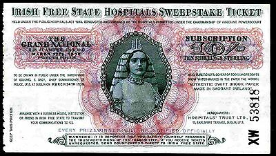 Ireland, Free State Sweepstake, Ten Shillings Subscription,  XW 53818, 1936.