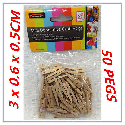 50 Pk Mini Craft Project Decorative Wooden Natural Colour Pegs Peg Package Party