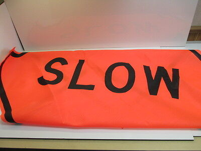 """48"""" Mesh Road Sign  Brand New """" Slow """"  Safety Flag Fluorescent"""