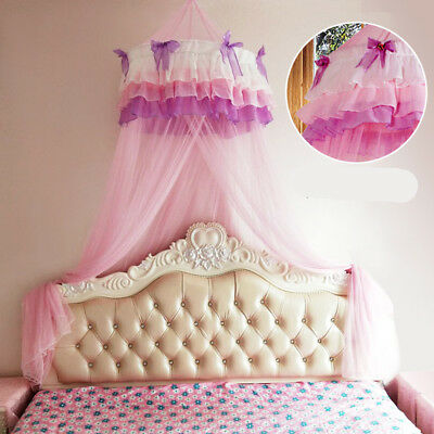 Pink Round Lace Curtain Dome Bed Canopy Netting Princess Mosquito Net