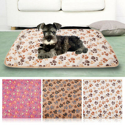 1X Cute Pet Mat Small Large Paw Print Cat Puppy Fleece Soft Blanket Bed Cushion