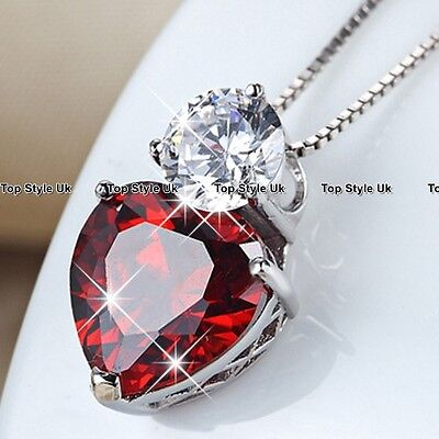 Ruby Red Heart Necklace Diamond Pendant Silver Crystal Jewellery Gift for Her D4