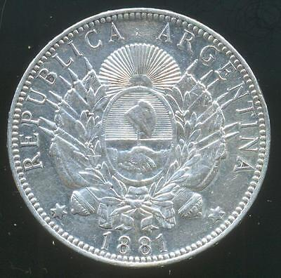 """Argentina Silver Coin 1 One Peso """"patacon"""" 1881 Crown / Dollar Size Au Condition"""