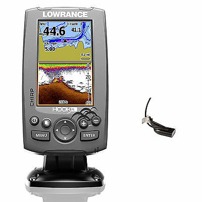 Lowrance Hook 4 Mid/High Down Scan Fischfinder Echolot GPS Combo Festmontage