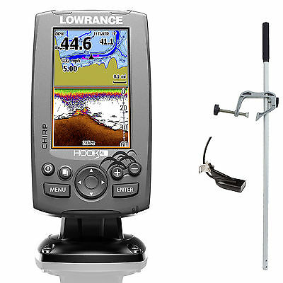 Lowrance Hook 4 Mid/High Down Scan Fischfinder Echolot GPS Combo Portabel Master
