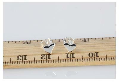 Shiny Polished Solid 925 Sterling Silver Love Heart Stud Earrings Gift Pouch
