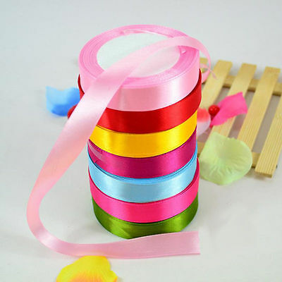 New 25 Yards Satin Ribbon Wedding Party Decoration Craft Sewing Many Colors Pick