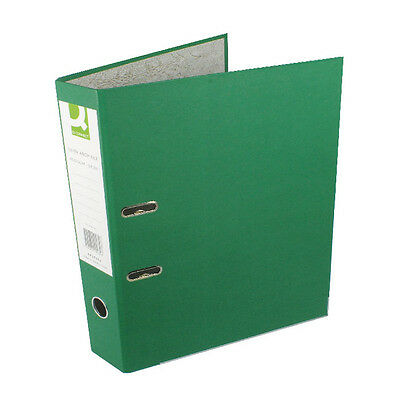 Q-Connect Lever Arch File / Paper Backed / Foolscap / Green / 10 Pack / Kf20032