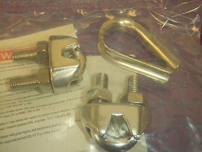 """Wire Rope Clip and Thimble Kit, 5/16"""", Stainless Steel, Free Shipping !72B!"""