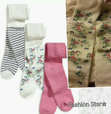 New* Bnwt Next Baby Girl Newborn Floral  Pink Cream Stripe 3 Pack Tights Set