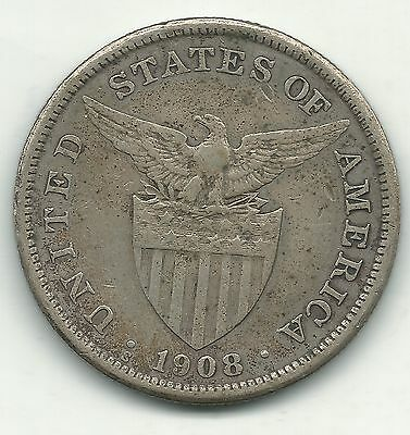 A Very Fine 1908 S Us Philippines Silver One Peso Coin-Oct237