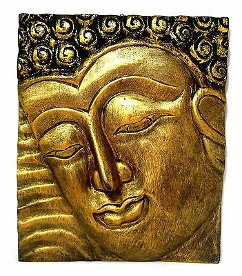 HAND CARVED WOODEN Buddha Face Gold Mask Wood Panel Wall Art Hanging ...