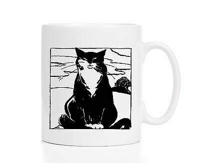 Japanese Cat Mug / Cat Coffee Cup / Woodcut Cat / Kitty Cat / Cat Collectible