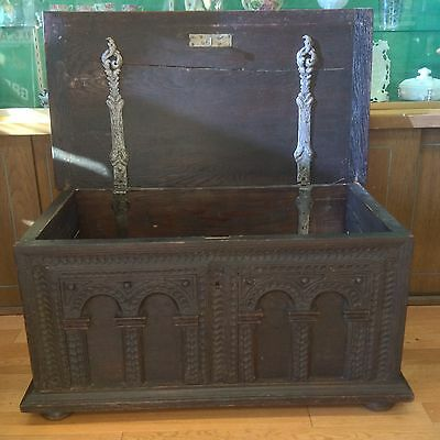 17th/18th century German or Scandinavian carved oak dowry chest; ornate with loc