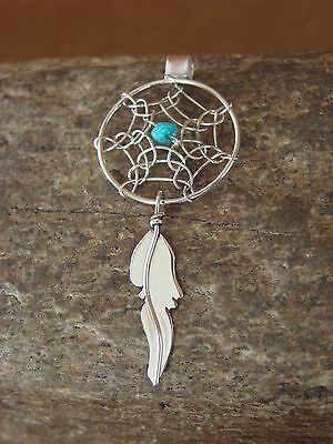 Native American Indian Handmade Sterling Silver Turquoise Dreamcatcher Pendant