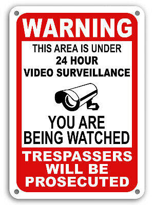 "Warning This Property Under 24 Hour Video Surveillance Sign security cctv 7""x11"""
