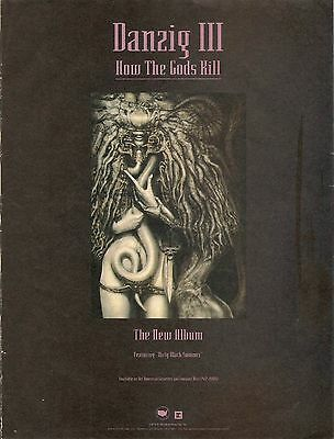 DANZIG III How The Gods Kill FRAMED AD 1992. H.R. Gieger  Def American. Misfits