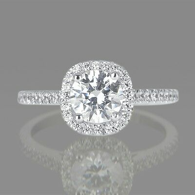 2.00 CT D/SI1 Genuine Enhanced Round Cut Diamond Engagement Ring 14K White Gold