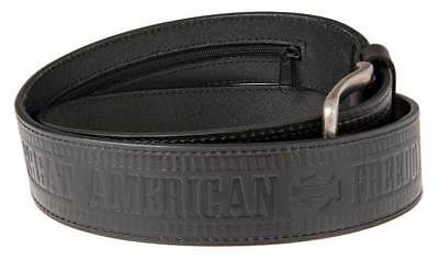 Harley-Davidson Men's Zipper Money Belt Genuine Leather Belt HDMBT11190-BLK
