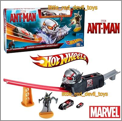 NEW Hot Wheels Marvel Ant-Man Themed Shrink Chamber Shoot Out Track Set Playset
