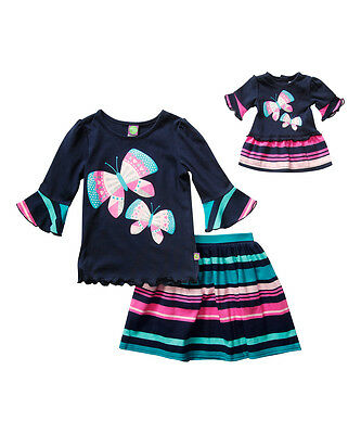 Dollie Me Girl 4-14 and Doll Matching Navy Teal Pink Skirt Outfit American Girl