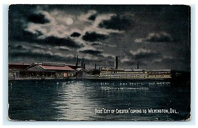 Boat City of Chester Coming to Wilmington Delaware DE Postcard Ship River Unused