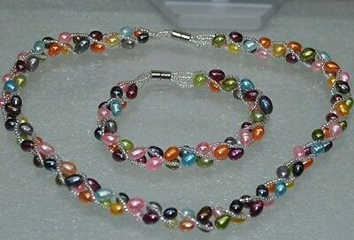 Wholesale 5 sets 5-6 mm mixed color pearl necklace and bracelets