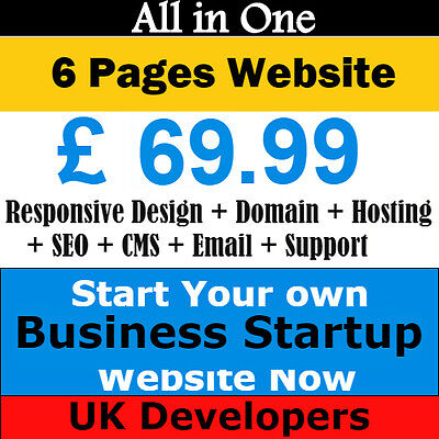 6 Pages Business Startup Website Design + Domain +Hosting+Responsive + SEO+Email