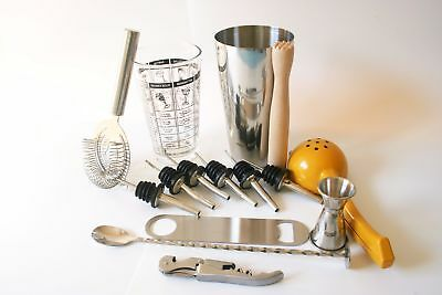 Boston Shaker Set cocktail martini spirits maker muddler strainer jigger pourer