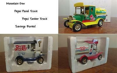 A Mountain Dew & 2 Pepsi Trucks Collector Savings Banks - L@@K