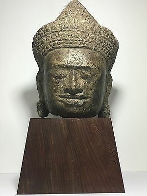 KHMER SCULPTURE SANDSTONE FRAGMENT HEAD OF A MALE 10th CENTURY.RELATIVELY LARGE