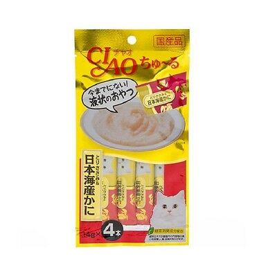 CIAO Churu Cat Lick Snacks Flavor Chicken Breast Crab Fillet 4pcs Cat Food