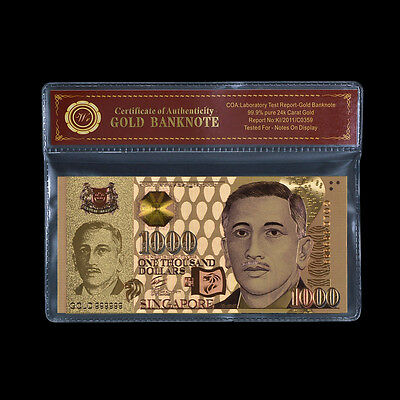 WR 1999 Singapore 1000 Dollars Banknote 24k Gold Plated Money Note /w PVC Sleeve