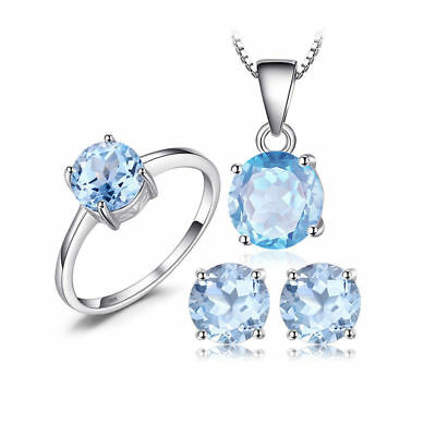 JewelryPalace Round 6ct Genuine Sky Blue Topaz Jewelry Sets 925 Sterling Silver