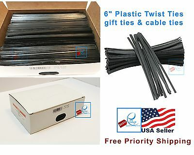 "New in box ULINE 2000 BLACK 6"" Plastic Twist Ties - S-2505BL"