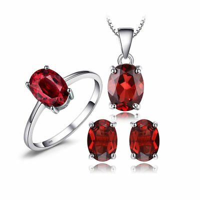 JewelryPalace Oval 6.2ct Natural Red Garnet Jewelry Sets 925 Sterlling Silver
