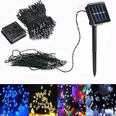 Solar Powered 100 200 LED String Fairy Tree Lights Party Wedding Xmas Outdoor