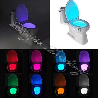 Human Motion Sensor Automatic Seats LED Light Toilet Bowl Bathroom Lamp 8 Colors