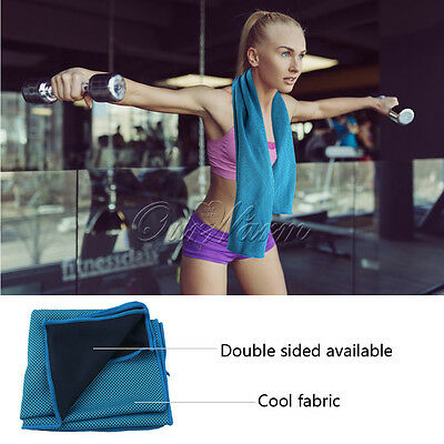 Ice Cooling Towel Sports Exercise Cool Relief Blue Golf Running Hiking 100x30CM
