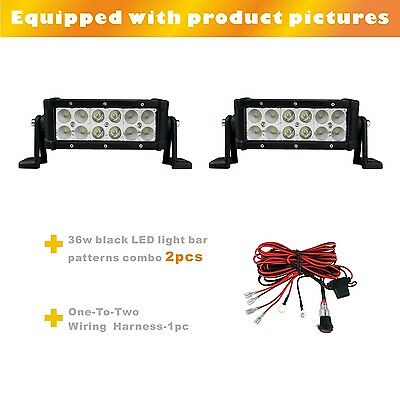 2PCS 36W 8inch led light bar combo beam black 6000K + one-to-two wiring harness